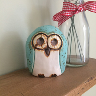Ceramic Turquoise Owl Decoration
