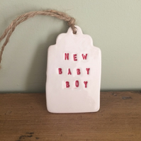 Ceramic Gift Tags - 'New Baby Boy'