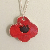 Ceramic Poppy Pendant Necklace