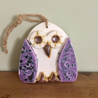 Ceramic Purple Owl Hanging Decoration