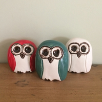 Ceramic Trio of Owls
