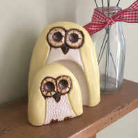 Ceramic Owl and Owlet New Baby Ornament