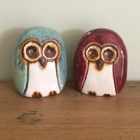 Two Small Ceramic Owl Ornaments Pottery