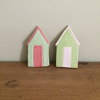 Ceramic Beach Hut Magnets x2