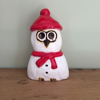 Pottery Ceramic Christmas Snowy Owl Decoration