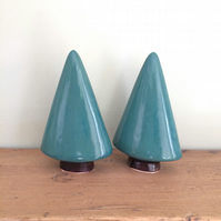 Pottery Ceramic Christmas Trees (set of two)