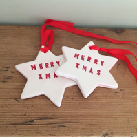 Ceramic Gift Tags - 'Merry Xmas'