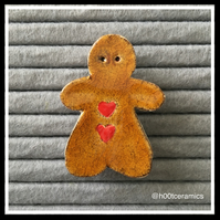 Ceramic Gingerbread Girl Brooch