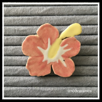 Ceramic Pink Flower Brooch