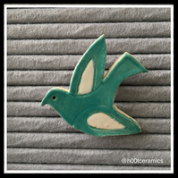 Ceramic Turquoise Bird Brooch
