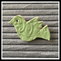 Ceramic Mint Bird Brooch