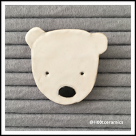 Ceramic Polar Bear Brooch
