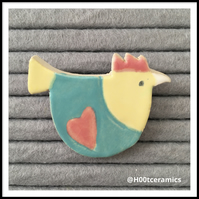 Ceramic Chicken Brooch