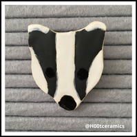 Ceramic Badger Brooch