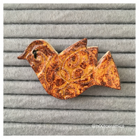 Ceramic Gold Bird Brooch