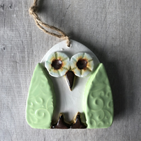 Ceramic Green Owl Hanging Decoration