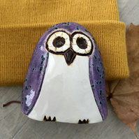 """Florence"" - Ceramic Purple Owl Ornament"