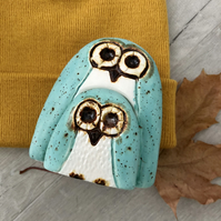 Ceramic Owl and Owlet - Turquoise New Baby Gift