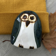 """Caleb"" - Ceramic Blue Owl Ornament"