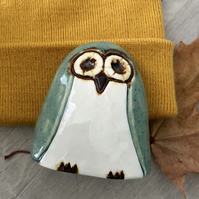 """Amelia"" - Pottery Green Owl Ornament"