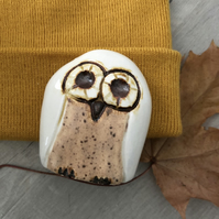 """Freddie"" - Ceramic Cream Owl Ornament"
