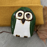 """Fern"" - Ceramic Green Owl Ornament Pottery"