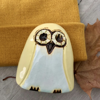 """Olivia"" - Ceramic Lemon Owl Ornaments"