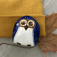 """Lola"" - Pottery Blue Owl"