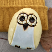 """Hallie"" - Ceramic Yellow Owl Pottery Decorative Ornament"
