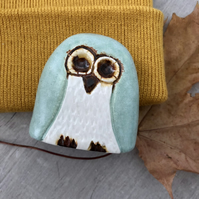 """Layla"" - Ceramic Mint Owl Ornament"