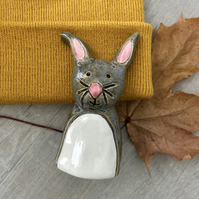 Ceramic Grey & Pink Rabbit Pottery Ornament, Easter Bunny