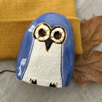"""Isla"" -Ceramic Purple Owl Ornament"