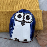 """Logan"" - Ceramic Blue Owl Ornament"