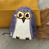 """Freya"" - Ceramic Purple Owl Ornament"