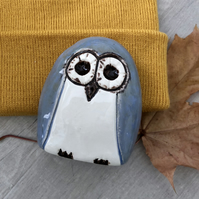 """Finley"" - Ceramic Grey-blue Owl"