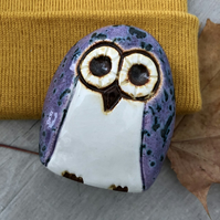 """Harper"" - Ceramic Purple Owl Ornament"