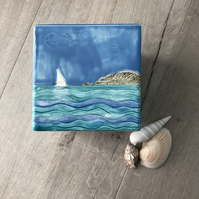 Ceramic 'At Sea' Cube Vase, Home Decor