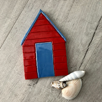 Ceramic Red and Blue Beach Hut Plaque, Wall Art
