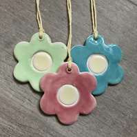 Set of three Ceramic Gift Tags & Easter Tree Decorations Flowers (set of three)