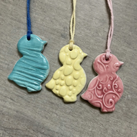 Set of 3 Ceramic Gift Tags & Easter Tree Decorations - Chicks (set of three)