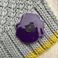 Ceramic Purple Anemone Brooch