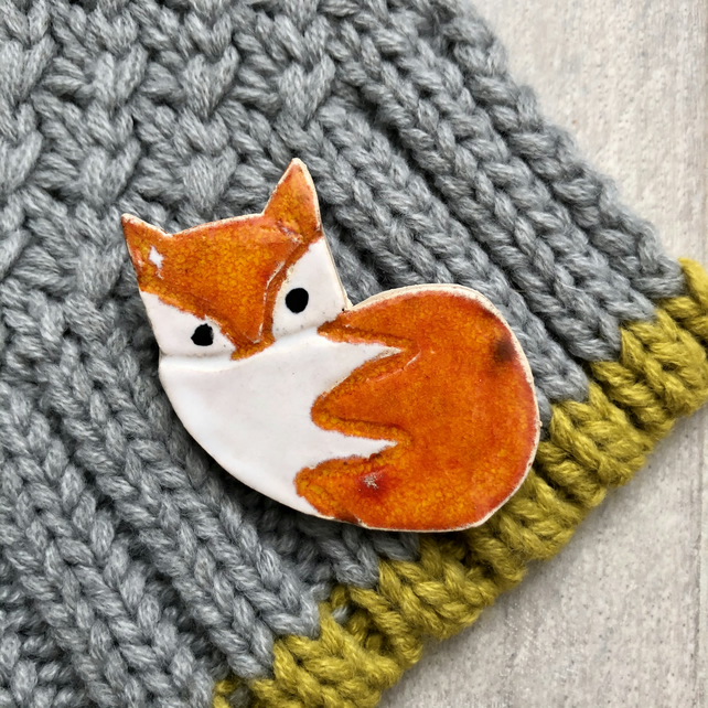 Ceramic Fox Brooch