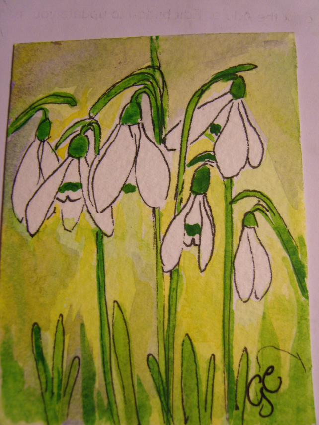 SNOWDROPS WATERCOLOUR ACEO MINATURE PAINTING