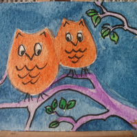 ACEO Two little owls