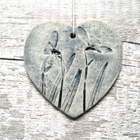 Ceramic heart, snowdrop heart, hanging hearts, gift for Mum, Mother's Day