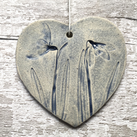 Hanging heart, snowdrop hearts, ceramic clay heart, gift for Mum, Mother's Day
