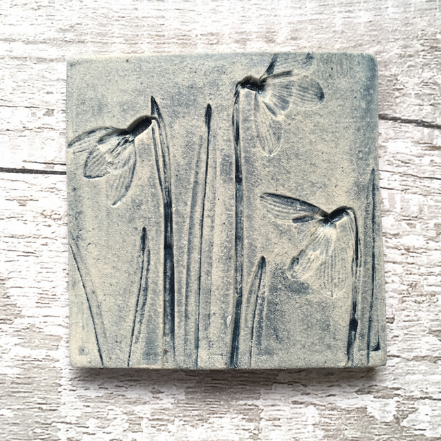 Ceramic wall art, hanging tile, wall art, rustic plant tiles, snowdrops tiles