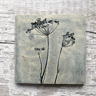 Ceramic wall art, hanging tile, wall art, rustic plant tiles, cow parsley tiles