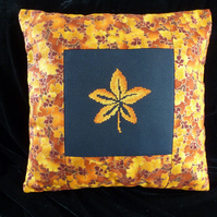 Cross Stitch panel Cushion Cover Gold