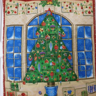 Hand quilted Christmas Tree in front of Window Advent Calendar